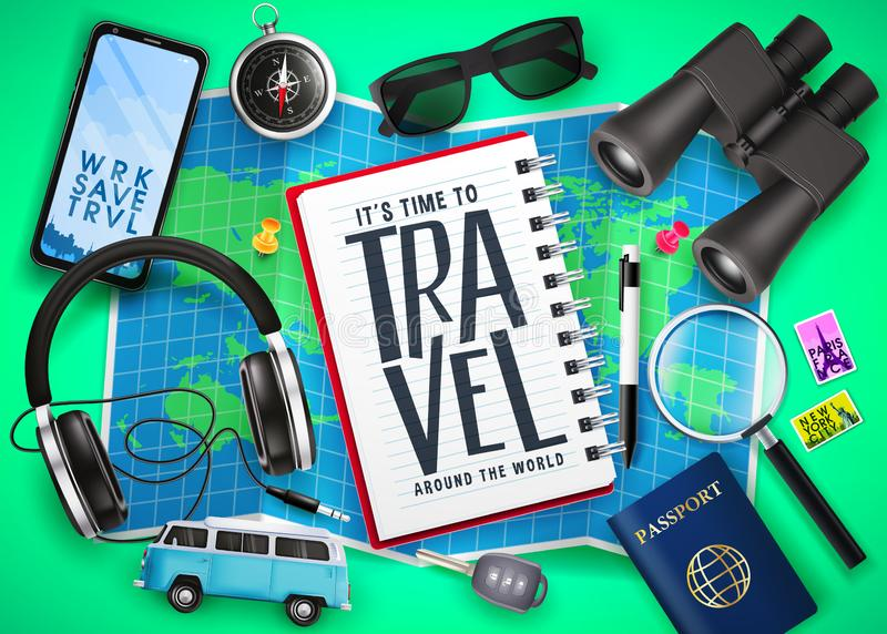 Travel Text in Notebook on Top of Map with 3D Realistic  Traveling Item Elements Like Passport, Compass vector illustration