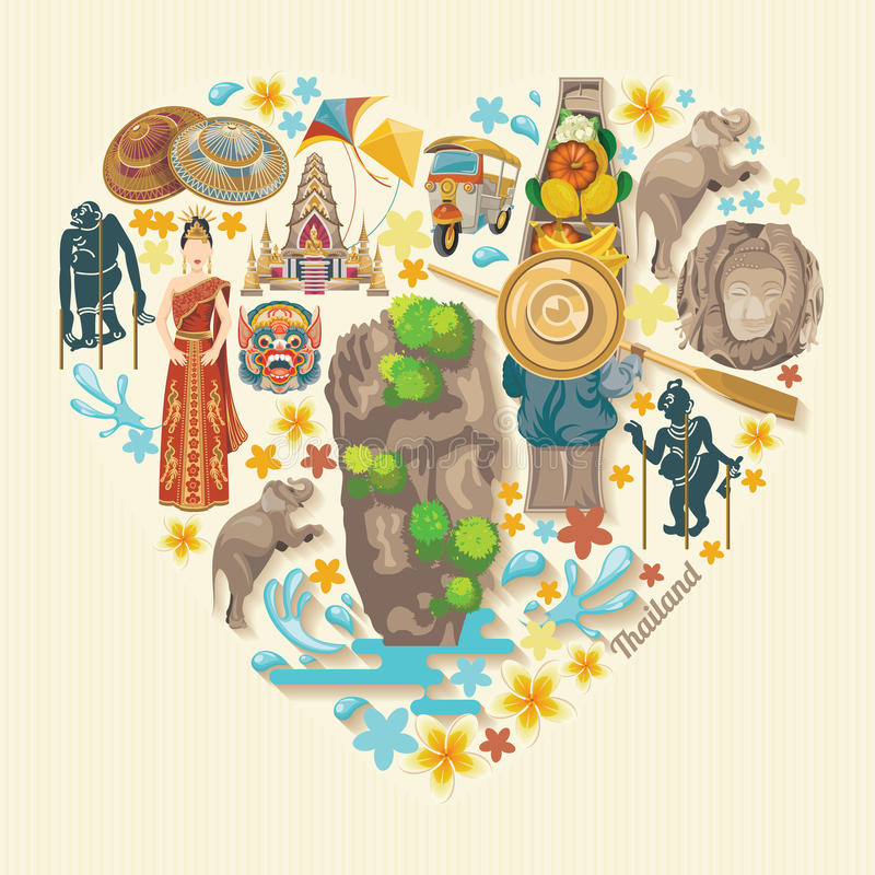 Travel Thailand landmarks. Thai vector icons. vector illustration