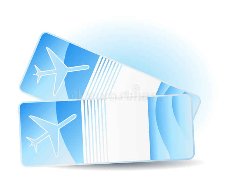 Travel tickets. Two travel tickets on blue royalty free illustration