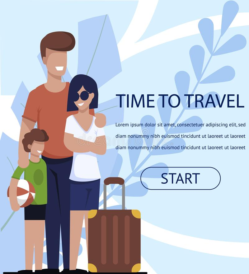 Travel Time Banner with Happy Family and Ad Text vector illustration