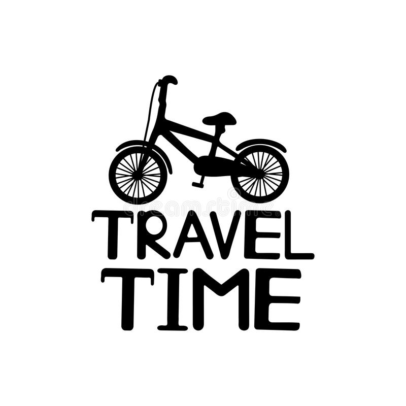 Travel time black text and the bicycle icon. stock illustration