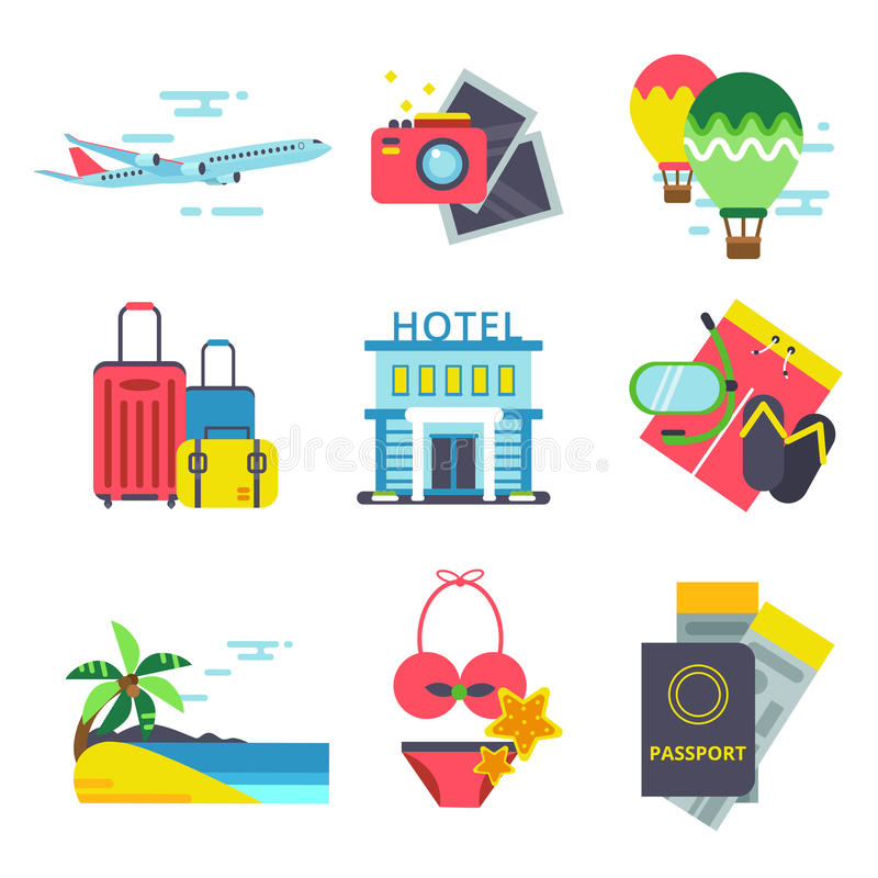 Travel time icon set in flat style. Vector signs of summer holidays. Sea, waves and other symbols of traveling stock illustration