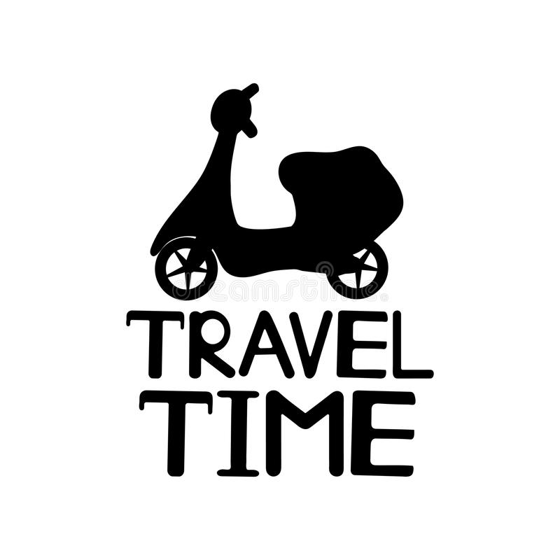Travel time text and black moped icon. stock illustration