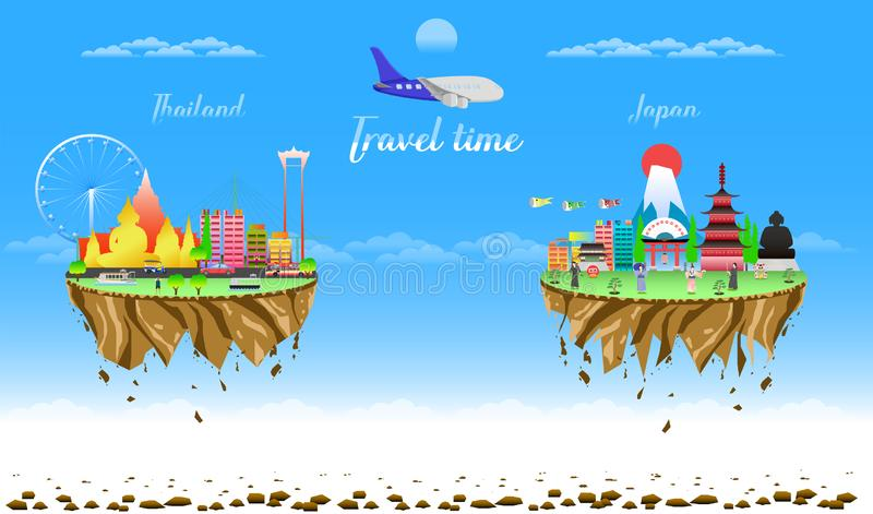 Travel time thailand and japan two city country float vector illustration eps10. Travel time thailand and japan two city country float vector illustration stock illustration