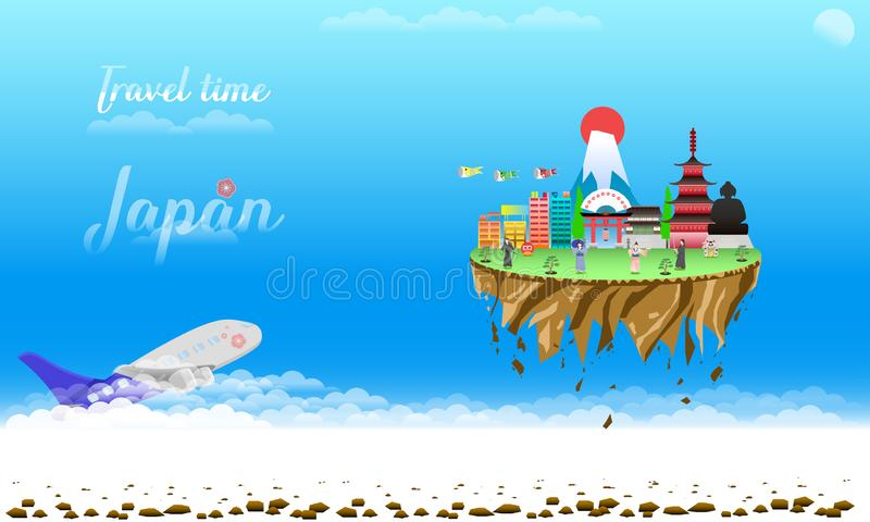 Travel time welcome to japan city country float vector illustration eps10. Travel time welcome to japan city country float vector illustration royalty free illustration