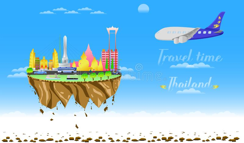 Travel time welcome to thailand city country float vector illustration eps10. Travel time welcome to thailand city country float vector illustration royalty free illustration