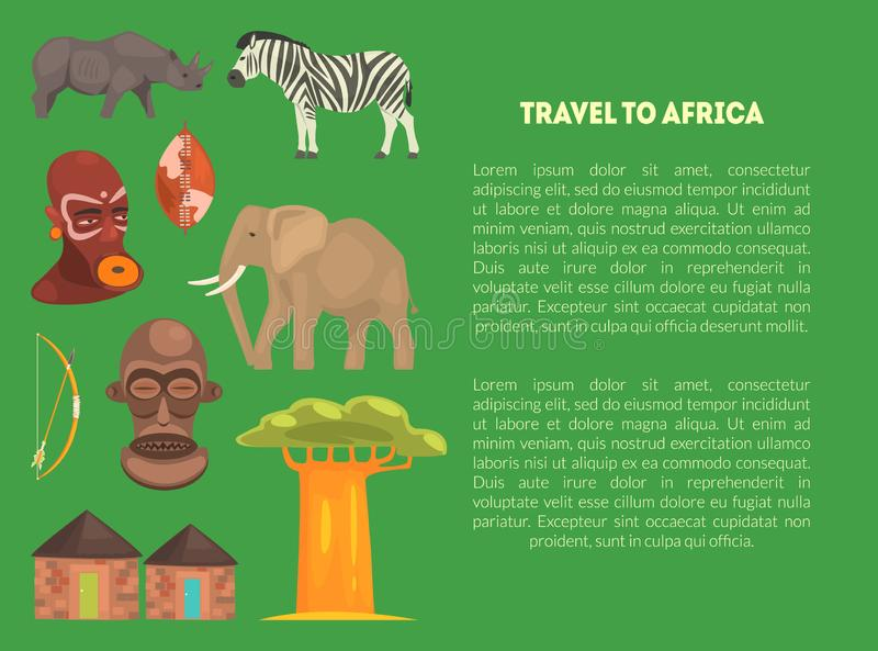 Travel to Africa Banner Template with Advertising Text, Article or Information Text about African Continent Vector. Illustration, Web Design stock illustration