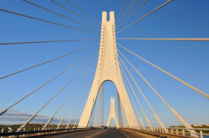 Travel to Algarve Portugal, cable stayed bridge, Portimao city Portimao bridge. royalty free stock photo