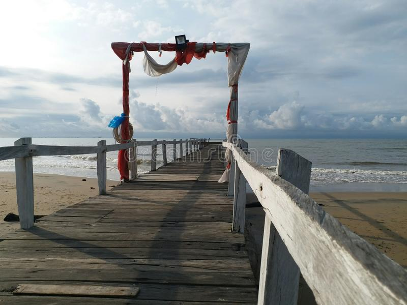 Travel to Angsana Beach, South Kalimantan, wonderfule Indonesia. Advanture for sunrise in the Angsana beach royalty free stock photography