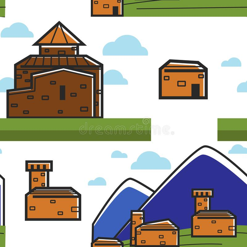 Armenian architecture and nature mountains and brick buildings stock illustration