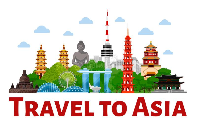 Travel to Asia. Advertising web banner. Top world famous landmarks of Asia. vector illustration