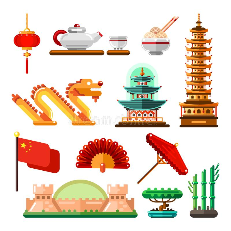 Travel to Asia, China icons and isolated design elements set. Vector Chinese culture symbols, landmarks and food.  stock illustration