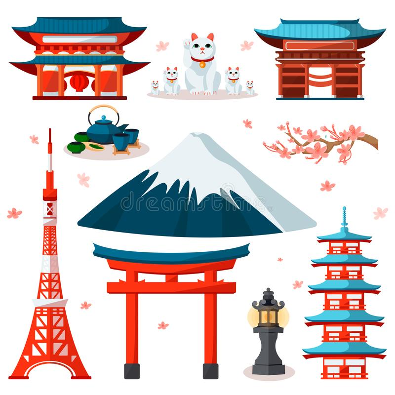 Travel to Asia, Japan icons and isolated design elements set. Vector Japanese and Tokyo culture symbols and landmarks.  vector illustration