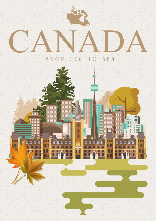 Travel to Canada. Canadian vector illustration with light background. Retro style. Travel postcard. Travel to Canada. Canadian vector illustration with light vector illustration