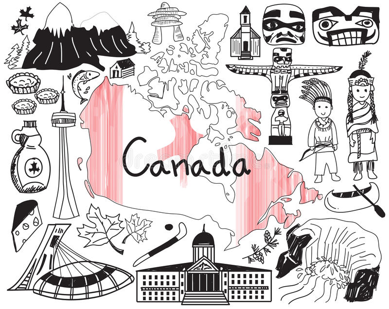 Travel to Canada doodle drawing icon. With culture, costume, landmark and cuisine tourism concept in isolated background, create by vector vector illustration