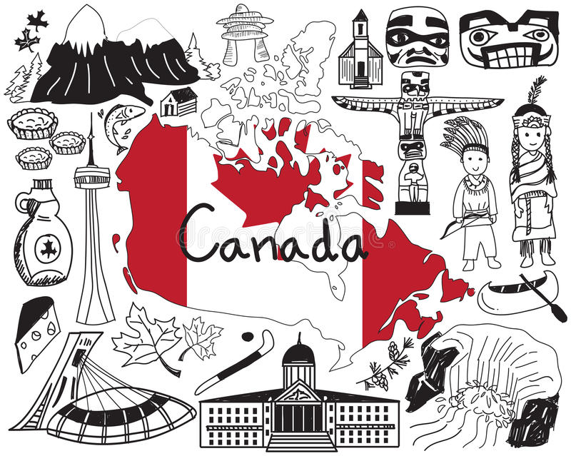 Travel to Canada doodle drawing icon. With culture, costume, landmark and cuisine tourism concept in isolated background, create by vector stock illustration
