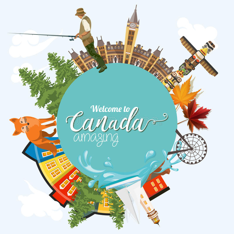 Travel to Canada. Light design. Circle shape. Canadian vector illustration. Retro style. Travel postcard. Travel to Canada. Canadian vector illustration with vector illustration