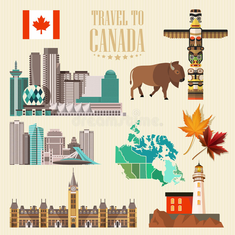 Travel to Canada. Light design. Set with canadian cities. Canadian vector illustration. Retro style. Travel postcard. Travel to Canada. Canadian vector stock illustration