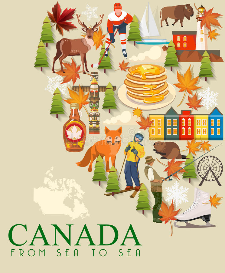 Travel to Canada. Postcard. Canadian vector illustration. Retro style. Travel postcard. Travel to Canada. Canadian vector illustration. Travel postcard royalty free illustration