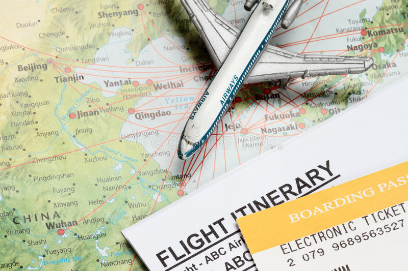 Travel to China. Concept with toy airplane and map of china stock photo