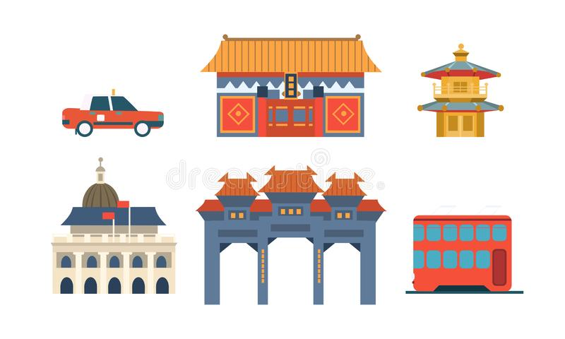 Travel to China, Chinese Traditional Architectural and Cultural Symbols Set Vector Illustration vector illustration