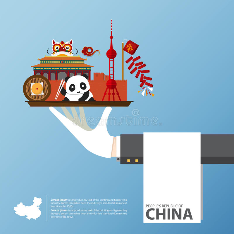 Travel to China infographic. Set of flat icons of Chinese architecture, food, traditional symbols. Vector Illustration royalty free illustration