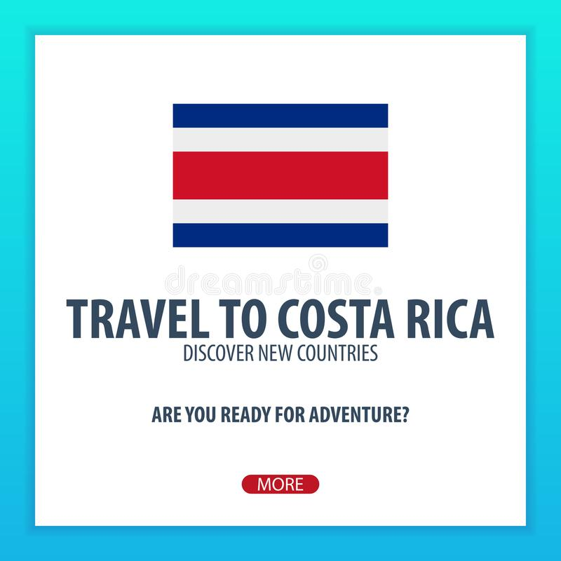 Travel to Costa Rica. Discover and explore new countries. Adventure trip. stock illustration