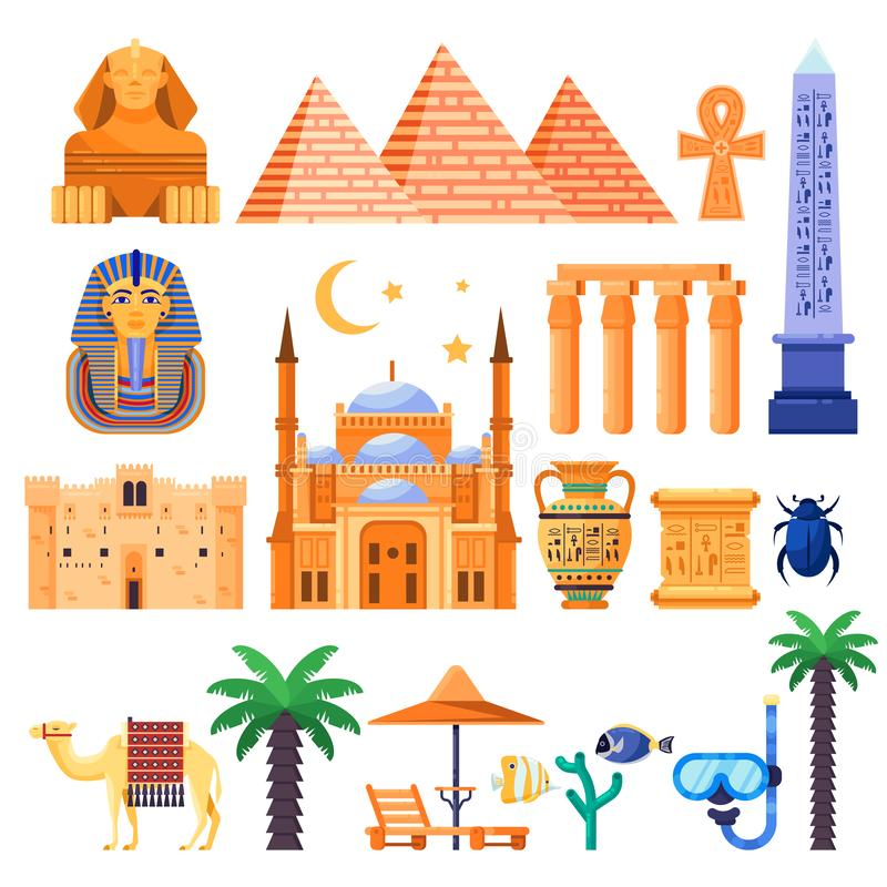 Travel to Egypt vector icons and design elements. Egyptian national symbols and ancient landmarks flat illustration.  royalty free illustration
