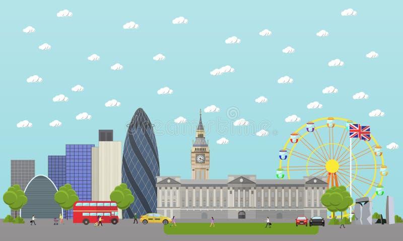 Travel to England concept vector illustration. London city landscape. UK landmarks and destinations. Travel to England concept vector illustration. London city vector illustration