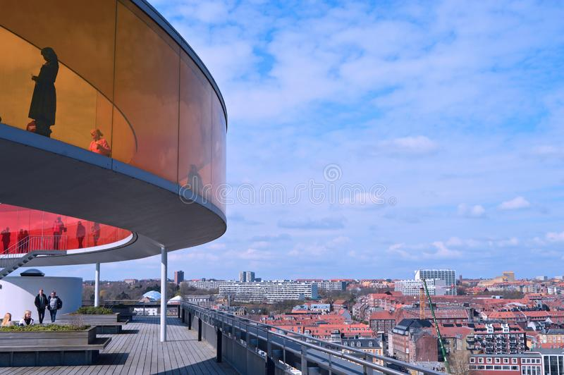 Panoramic view over Aarhus in Danmark.ARos museum. Travel to a Europe under spring, Aarhus in a Denmark.....Panoramic view over Aarhus in Danmark royalty free stock photography