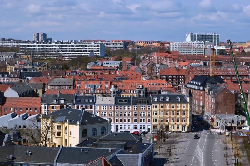 Panoramic view over Aarhus in Danmark. Travel to a Europe under spring, Aarhus in a Denmark.....Panoramic view over Aarhus in Danmark royalty free stock photo