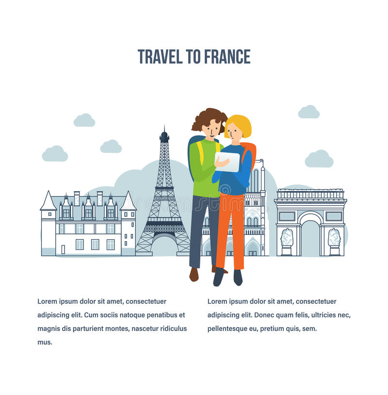 Travel to France, explore the city, mobile navigation. Concept of a travel to France, to explore the city, mobile navigation. Boy and girl on the background of vector illustration
