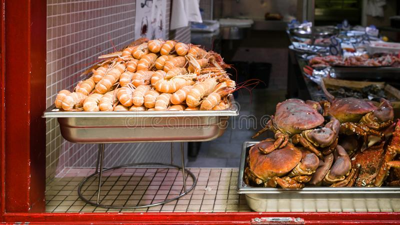 local fresh seafood in Treguier town stock photo