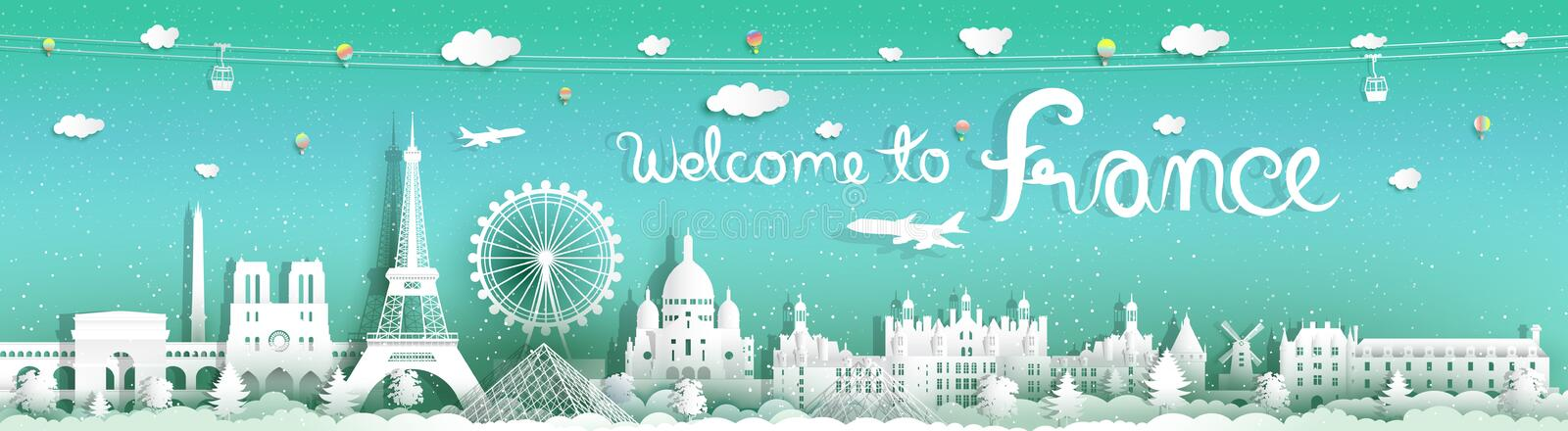 Travel to france panorama view famous landmarks world royalty free illustration