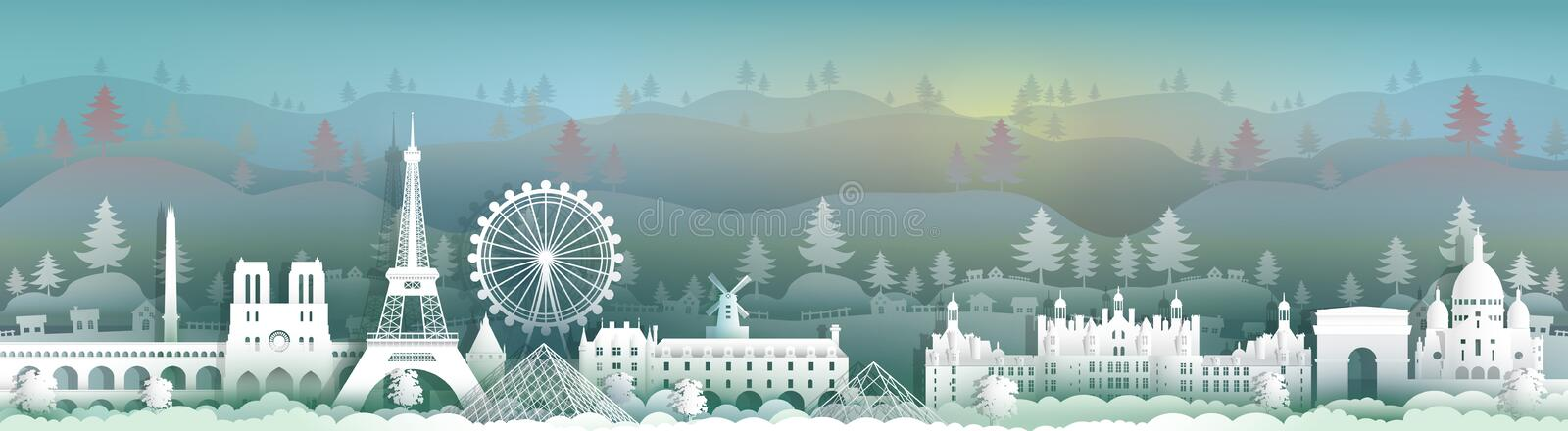 Travel to france panorama view famous landmarks of the world. With landscape background,Touring to beauty culture, Vector illustration for presentation, Paper royalty free illustration