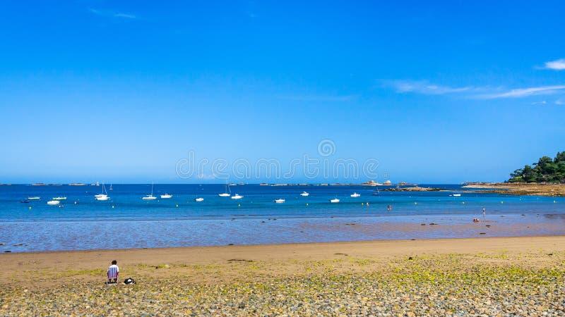 Panoramic view of beach Plage de la Baie de Launay. Travel to France - panoramic view of beach Plage de la Baie de Launay on bay Anse de Launay of English royalty free stock photography