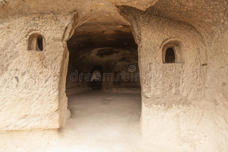 Travel to Georgia - room in artificial ancient cave city in Vardzia. Most popular georgian attraction stock images