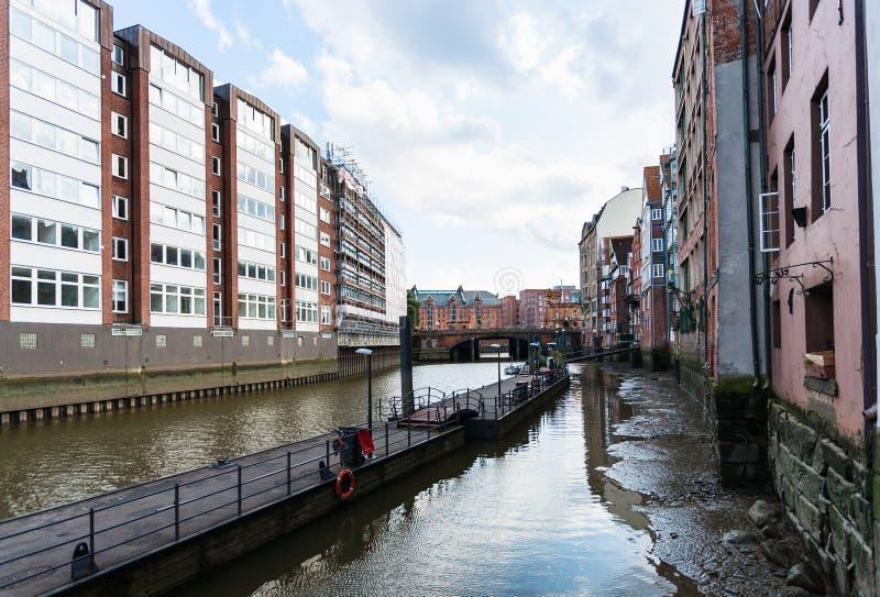 View of Nikolaifleet canal in Hamburg city royalty free stock image