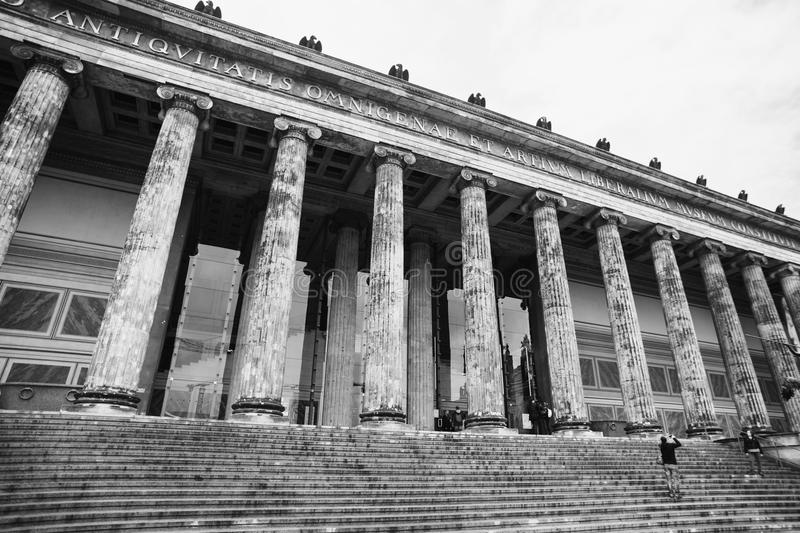 Black and white art monochrome photography. A beautiful European city. Euro-trip. Travel to Germany. A walk along the center of Berlin. Art Museum in Berlin royalty free stock photos
