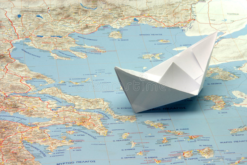 Travel to greece by boat stock images
