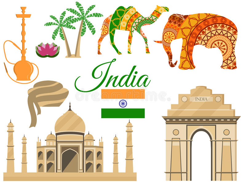 Travel to India, Indias traditional symbols, icons attractions. royalty free illustration