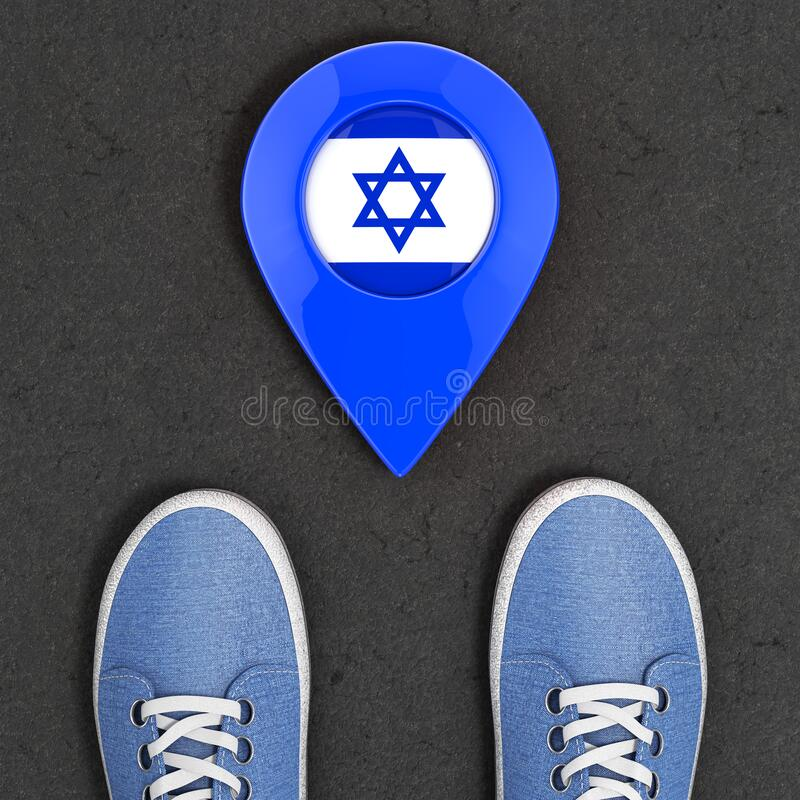 Travel to Israel Concept. Blue Denim Sneakers on the Asphalt Road with Map Pointer and Israel Flag Top View. 3d Rendering. Travel to Israel Concept. Blue Denim vector illustration