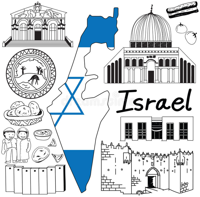 Travel to Israel doodle drawing icon with friendly Palestine tourism concept vector illustration