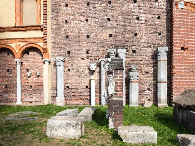 Ancient roman ruins in Sforza Castle in Milan city royalty free stock photo