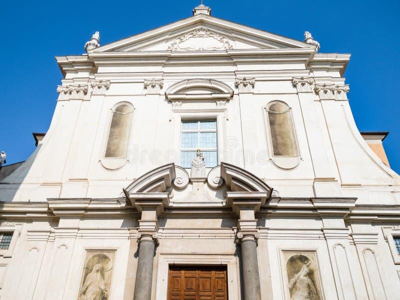 Church Santa Maria della Carita in Brescia. Travel to Italy - facade of church Chiesa di Santa Maria della Carita ( Chiesa del Buon Pastore, Carita) on street stock images