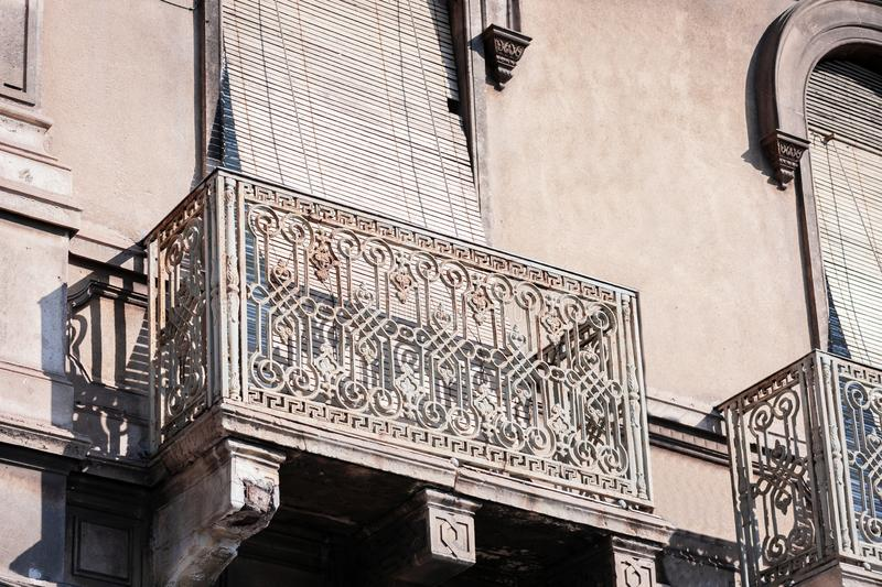 Travel to Italy - facade of historical building in Catania, Sicily, ancient street.  stock image