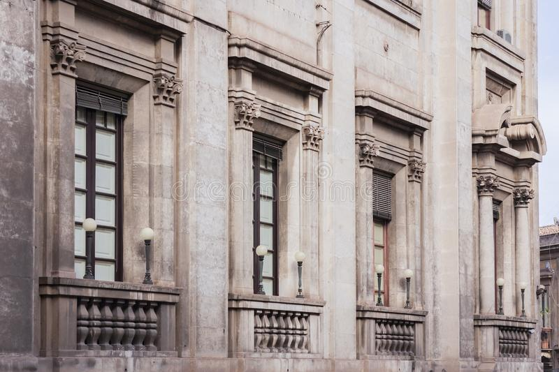 Travel to Italy - facade of historical building in Catania, Sicily, ancient street.  royalty free stock photography