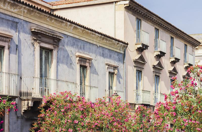 Travel to Italy - historical street of Catania, Sicily, facade of ancient buildings.  stock photo