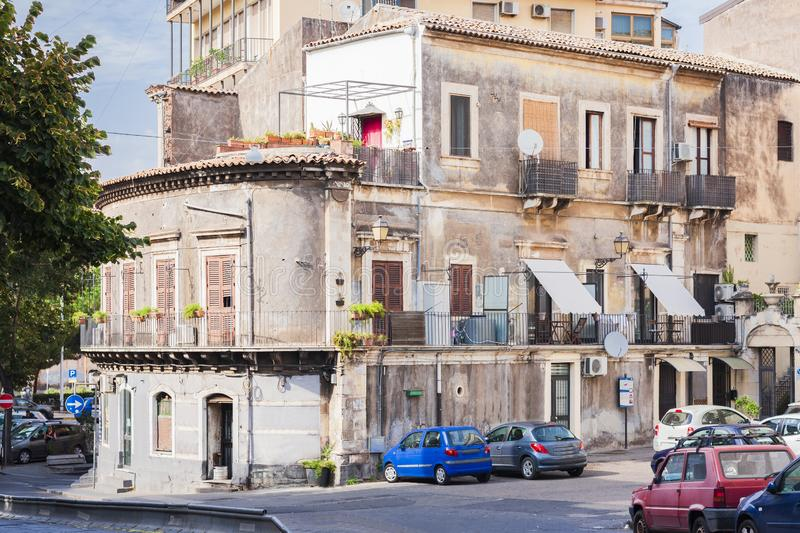 Travel to Italy - historical street of Catania, Sicily, facade of ancient buildings.  royalty free stock photography