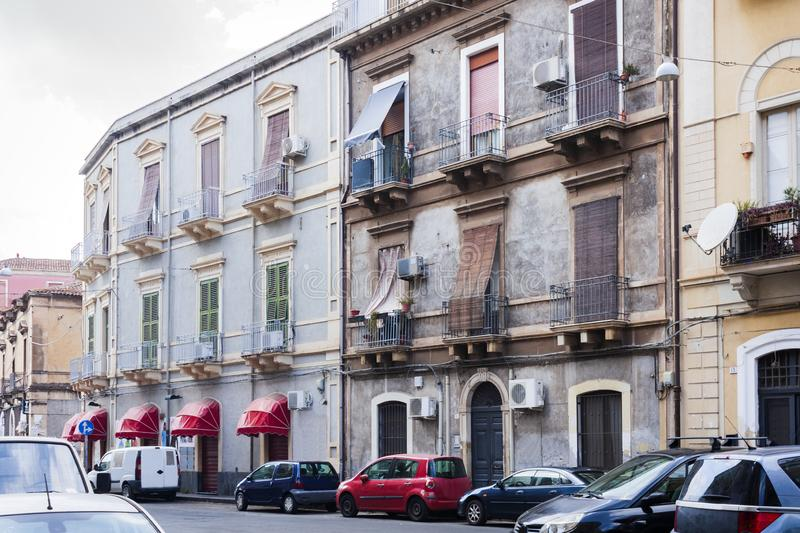 Travel to Italy - historical street of Catania, Sicily, facade of ancient buildings.  stock photography